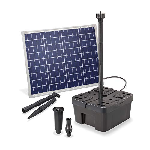 Solar Teichfilter Komplettset Professional - 2500 l/h Förderleistung + 50 W Solarmodul - Komplettset für Gartenteiche bis 6.000l - dekoratives Wasserspiel - Teichpumpe Solarpumpe esotec 100910