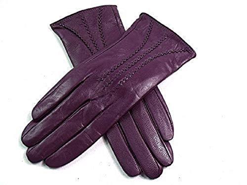 LE Damen Premium Qualität Super Weich Leder Handschuhe Kunstpelz Futter Streifen-Detail Enge Passform (Groß, Lila)
