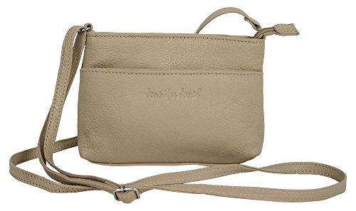 Kleine Abendtasche für Frauen aus Leder/Damen Crossover Schultertasche beige Umhängetasche Crossbody Bag (6224)