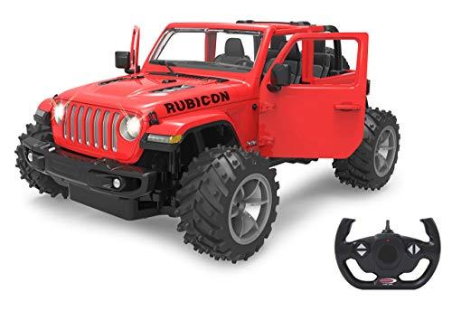 Jamara 405182 Jeep Wrangler JL 1:14 rot 2,4GHz Big Wheel Tür manuell-offiziell lizenziert, bis 1 Std Fahrzeit, ca. 11 Kmh, perfekt nachgebildete Details, detaillierter Innenraum, LED Licht