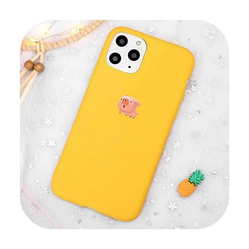 Carcasa para teléfono móvil con diseño de cerdo de dibujos animados, color amarillo para iPhone 11 12 Pro XS MAX 8 7 6 6S Plus X 5S SE 2020 XR-a1-iPhone12 mini