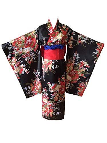 Saoye Fashion Kimono Japanisch Jigoku Shojo Hell Girl Anime Cosplay Geisha Damen Fiesta Kleidung Kostüm Seidenstoffe Bequem Schön Und Perfekt (Color : Schwarz, Einheitsgröße : L)