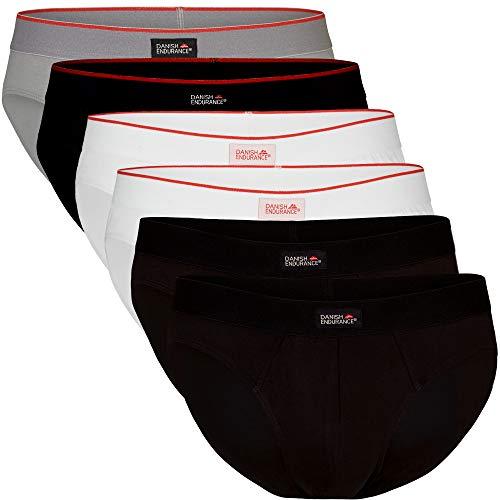 DANISH ENDURANCE Slip Uomo in Cotone Pacco da 6 (2 x Nero, 2 x Bianco, 1 x Grigio, 1 x Nero/Linea Rossa, X-Large)