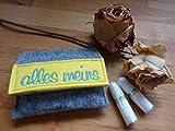 Tampon Täschchen grau - gelb I kleine Tasche aus Filz für deine Utensilien I passt in jede...