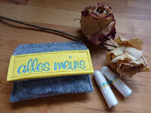 Tampon Täschchen grau - gelb I kleine Tasche aus Filz für deine Utensilien I passt in jede Handtasche I mit Stickerei alles meins I Münzbörse I Geldbeutel I Handarbeit