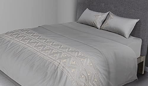 FLAX LINEN - Juego de funda de edredón de 4 piezas para cama de matrimonio de algodón egipcio orgánico de 400 hilos, incluye 1 funda de edredón + 1 sábana bajera + 2 fundas de almohada, color dorado