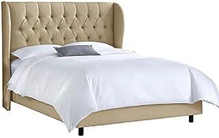 Asghar Furniture - Emil Wingback Bed - Beige, Super King Without Mattress