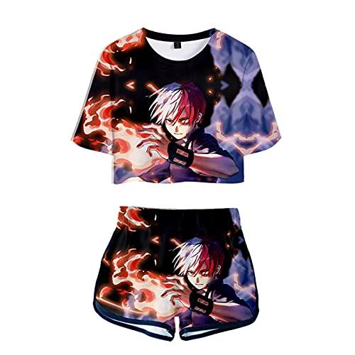 WWZY Anime My Hero Academia Impreso En 3D Todoroki Shoto Camiseta Y Pantalone Cortos 2 Piezas Conjunto Nias Mujer Crop Top T-Shirt Y Shorts Set,Negro,L