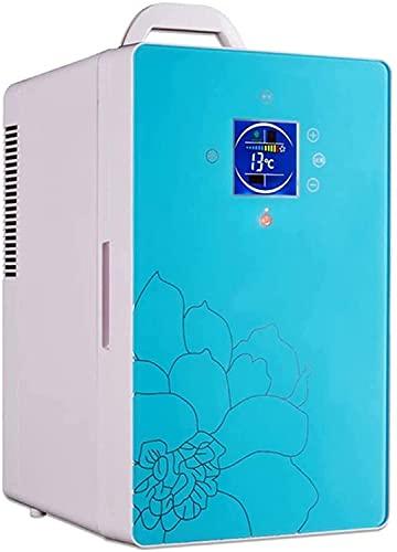 YDCG Frigorífico con refrigerador y calentador pequeño de 16 litros, portátil y compacto de doble núcleo, hasta -8 grados, panel LED, congelador supersilencioso para el coche
