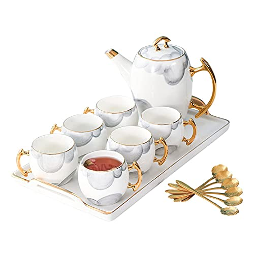 Afternoon Tea Sets Tea Set For Adults Tea Set With Teapot Coffee Cups Set White Porcelain Coffee Set With Spoons Serving Tray