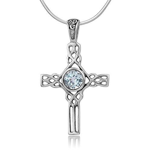 Chuvora 925 Sterling Silver Natural Blue Topaz Gemstone Celtic Cross Knot Unisex Pendant Necklace, 18