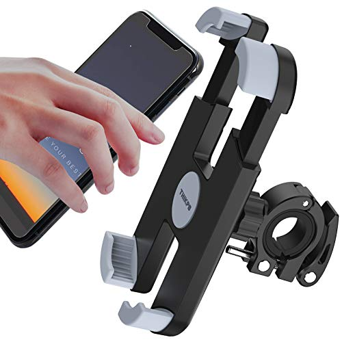"""THIKPO Bike Phone Mount with Shockproof Silicone Pad, Secure Quick-Locking Clamp, 360° Rotation Angles for 4.7-6.8 inch Cellphones, Holds Phones Up to 3.5"""" Wide"""