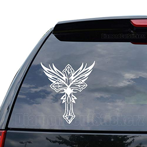 Iron Cross Angel Wings Decal Sticker Car Truck Motorcycle Window Ipad Laptop Wall Decor - Size (05 inch / 13 cm Tall) - Color (Gloss White)