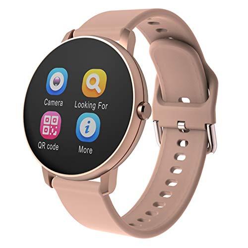 Smart Watch Women Women Touch Full Touch Redondo Monitor De Ritmo Cardíaco Redondo Presión Arterial Smartwatch para Apple Android Xiaomi Teléfono PK Iwo (Color : P8 Gold)
