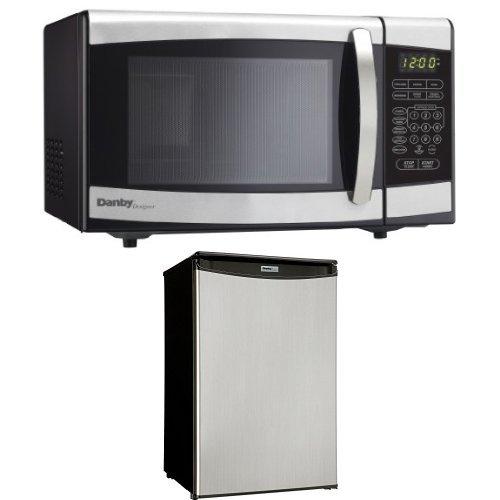 Danby 0.7 cu.ft. Countertop Microwave, Stainless Steel and Danby Compact 4.4 cu. ft. Refrigerator, Spotless Steel Door