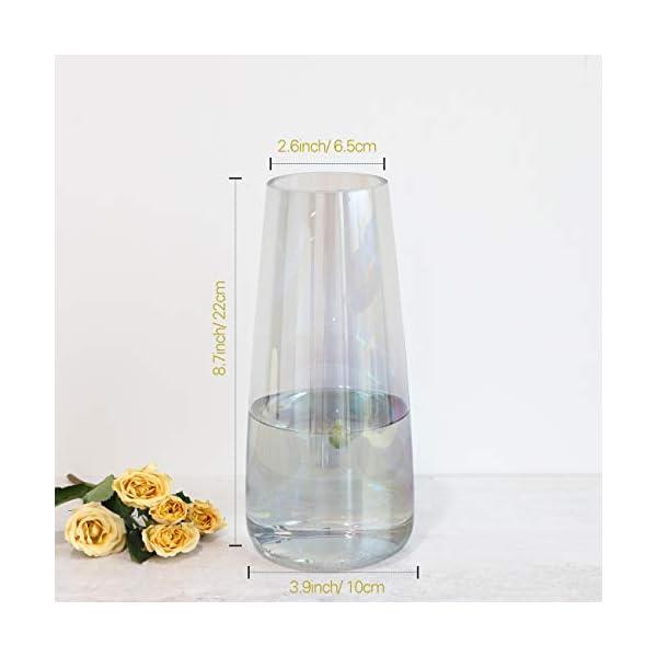 Lewondr Florero de Flor Cristal, 8.7inch Florero Jarrone Vidrio Elegante Decorativo de Estilo Ins, Botella de Flor…