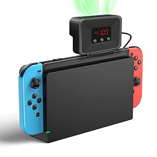 【最新ハイパワー冷却•排熱】Nintendo Switch 冷却ファン 吸熱式クーラー スイッチドック ハイパワー冷却ファン 温度表示 風量変更可能 スイッチ専用 扇風機 排熱 放熱対策 静音モデル LED温度デジタル表示 コンパクト 持ち運び便利