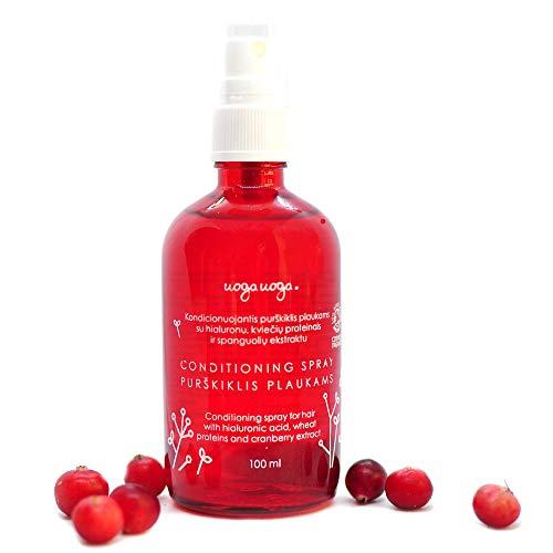 Uoga Uoga Spray acondicionador natural para cabello con ácido hialurónico, proteínas de trigo y extracto de arándano. Vegano