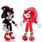 XIAN 2Pcs/Set 28Cm Sonic la muñeca suave del erizo, juguete relleno de la felpa de la historieta para los niños que aclaman