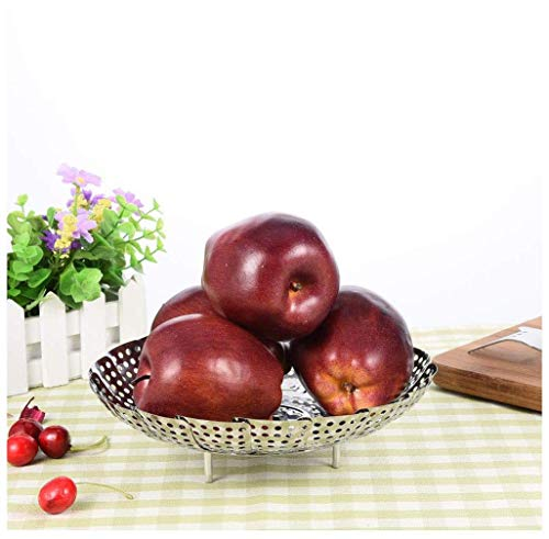 GONGFF Fruit Bowl Fruit Dish Stainless Steel Retractable Foldable Food Steamer Fruit Dish Fruit Plate Cooking Tool