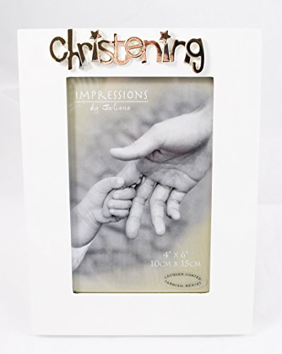 Cadre photo de baptême Blanc Miroir Argent en céramique Idée cadeau pour bébé