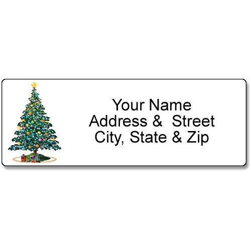 Christmas Tree Address Label - Christmas Customized Return Address Label - 90 Labels