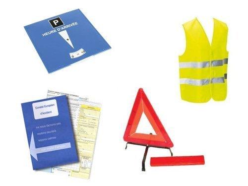 Equilibre et Aventure Kit Auto sécurité 4 pièces :1 Constat d'accident + 1 Gilet Jaune EN471 + 1 Triangle de signalisation + 1 Disque de stationnement