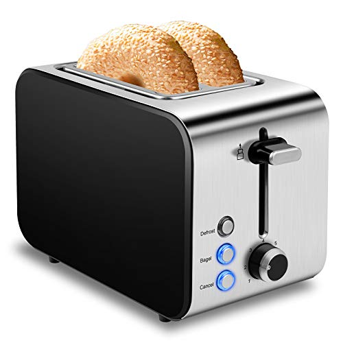 Toaster 2 Slice Best Rated Prime Toasters 1.5in Wide Slot Toaster 2 Slice Stainless Steel Toaster 7 Shade Settings Toasters Defrost/ Begal/ Cancel with Removable Crumb Tray Small Retro Evenly Toaster