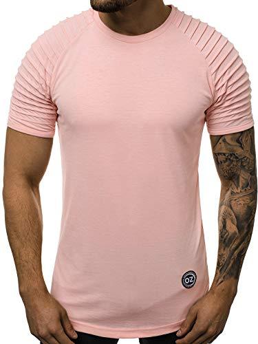 OZONEE Herren T-Shirt T Shirt Tshirt Kurzarm Kurzarmshirt Tee Top Sport Sportswear Rundhals U-Neck Rundhalsausschnitt Unifarbe Basic Einfarbig 777/7231T Hellrosa M