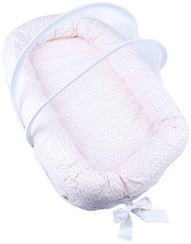 Ninho Antirrefluxo Papi Baby Com Mosquiteiro 02 Peças, Papi Textil, Rosa