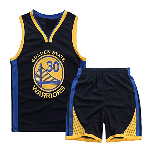 Basketball-Trikots Set für Kinder - Warriors Curry#30 Basketball-Shirt Weste Top Sommershorts für Jungen und Mädchen (Saphirblau - Warriors Curry #30, 2XS)