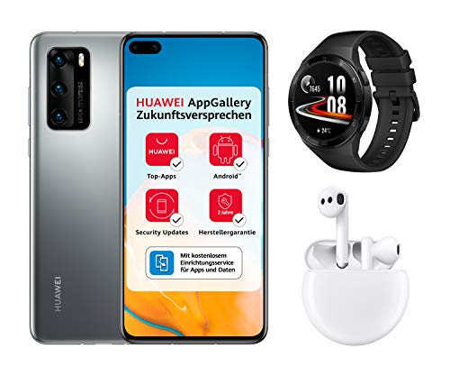 HUAWEI P40 Dual-SIM Smartphone Bundle (15,5 cm (6.1 Zoll), 128 GB interner Speicher, Android 10.0 AOSP) Silver Frost + 5 EUR Amazon Gutschein + Watch GT 2e, Graphite Black + FreeBuds 3, Weiß
