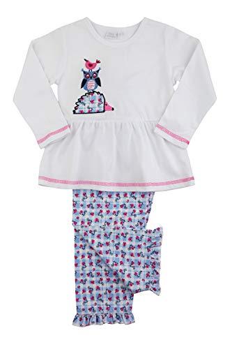Mini Vanilla London Mädchen Pyjama mit Blumenmuster, Blau/Blau PJ Set für 1-10 Jahre, Blumenmuster Gr. 3-4 Jahre, blau/weiß