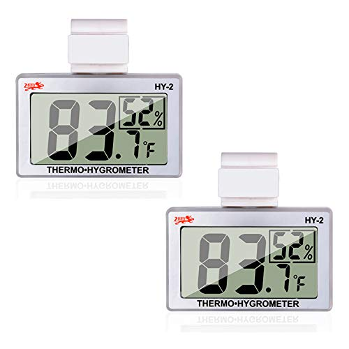 Qguai 2X Reptile Terrarium Thermometer Hygrometer LCD Digital Humidity Gauge in Pet Rearing Box Reptile Tank Terrarium Thermometer…