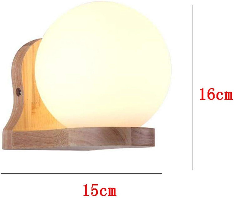 DROHE-Q Moderne Wandleuchte-Innenlampen-Ball-Glas-Massivholz für Schlafzimmer, Flur, Wohnzimmer, Treppe, KTV-Innendekoration
