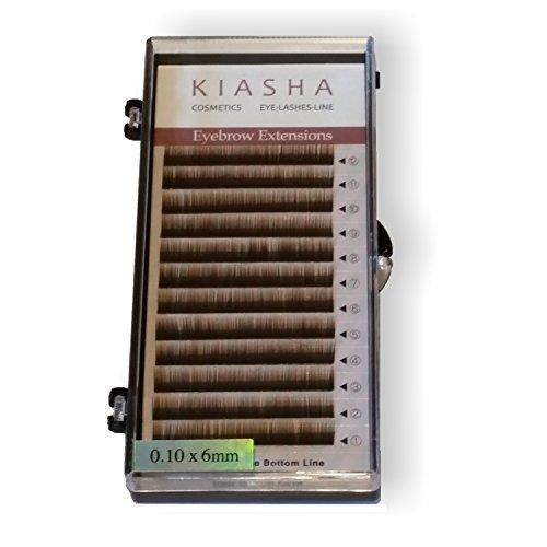 KIASHA Künstliche Augenbrauen mittelbraun mixed + Kleber 5 ml Eyebrow Extensions Premium PSA Lash Augenbrauenverdichtung und Neuanlage