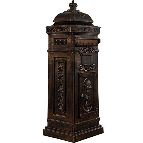 Maxstore Antiker englischer Standbriefkasten, rostfreies Aluminium, Höhe: 102,5 cm, Farbe: Bronze