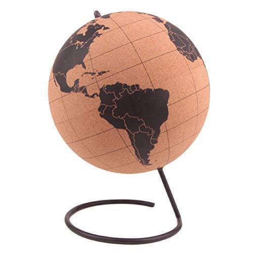Khosd Globo De Corcho Pintado, Bola del Mundo, Globo Terráqueo Corcho con Chinchetas para Marcar Paises O Viajes, Small