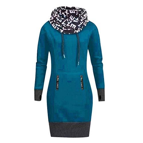 TOPKEAL Mode Damen Herbst Winter Brief Drucken Hoher Kragen Pullover Langarm Minikleid Sweatshirt Frauen Plus Größe Lässig Kurz Kleid Tops (B_Hell blau, M)