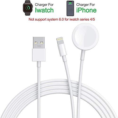 iWatch Charger, 2 en 1, cargador inalámbrico, compatible con iWatch Series 4 3 2 1, cable de carga portátil para PhoneXR/XS/XS Max/X/8/8Plus/7/7Plus/6/6Plus/Pad Air/Pad Mini (3,3ft/1,0 m)