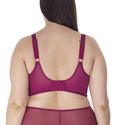 Elomi Women's Plus Size Matilda Unlined Plunge Underwire Bra with J-Hook, Berry, 32K