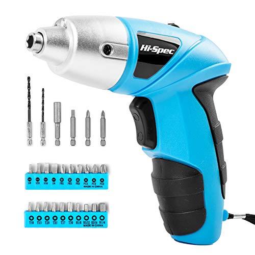 HI-SPEC Akkuschrauber, Blauer Schrauber mit wiederaufladbarem 4,8-V-Akku und LED-Licht. 26-teiliges Zubehör – Für jeden Klein oder Groß