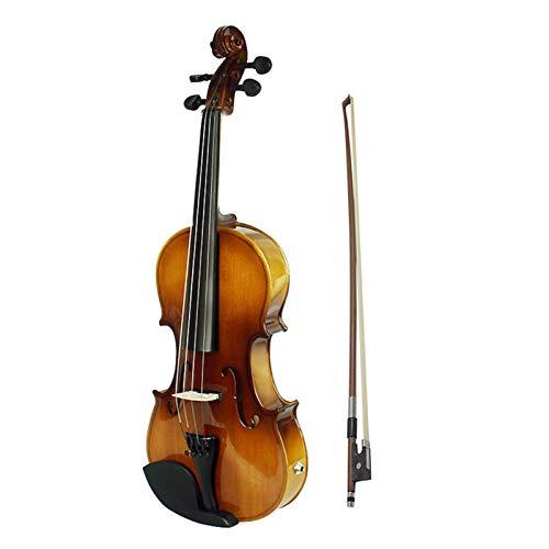 Queenser Conjunto de violino 4/4 acústico equalizador elétrico violino elétrico madeira maciça abeto facial com arco rígido estojo descanso de ombro Cabo de áudio cordas extras pano limpo retro pôr do