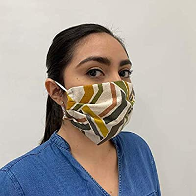 Premium Fabric Face Mask Reusable, Washable, Double Layer, Protects from Respiratory Droplets, Dust, Other Airborne Irritants, Ruffled/Pleated Design (Beige Abstract)