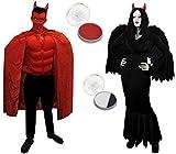 Déguisement pour couple adulte du diable des enfers et de l'ange noir déchu....