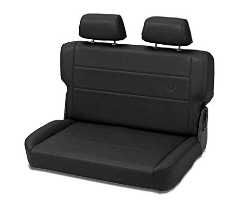 Bestop 3944015 Black Denim Trailmax II Rear Fold-N-Timble Reat Seat - Jeep 1955-1995 CJ5, CJ7 & Wrangler