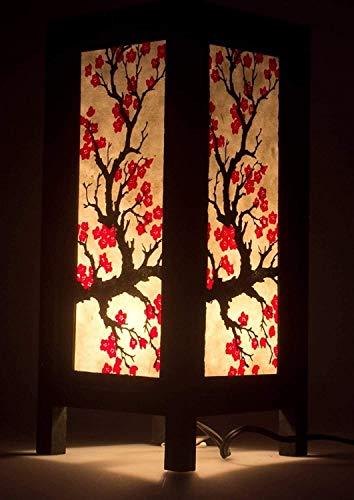 Rnwen Lámpara de Escritorio Lámpara de Mesa de Papel de Sisaka de Tailandia de Chiang MAI, Vino de Flor de Sakura Japonesa