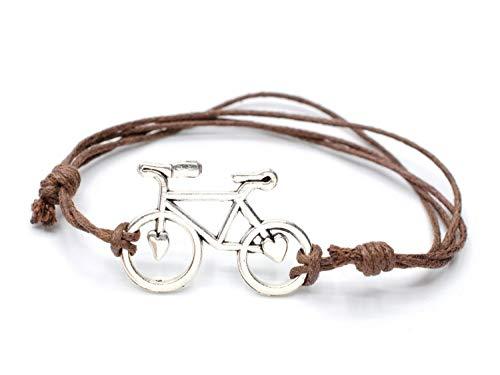 Miniblings Bicicleta Pulsera Rueda de Bicicleta de Carreras Cordon Ajustable Bicicleta Corazon - joyería de Moda Hechos a Mano - Senoras de la Pulsera Chica