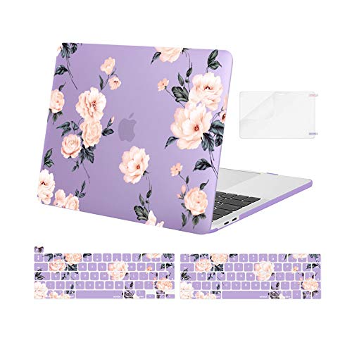 MOSISO Compatible with MacBook Pro 13 inch Case 2016-2020 Release A2338 M1 A2289 A2251 A2159 A1989 A1706 A1708, Plastic Camellia Hard Shell Case&Keyboard Cover Skin&Screen Protector, Purple