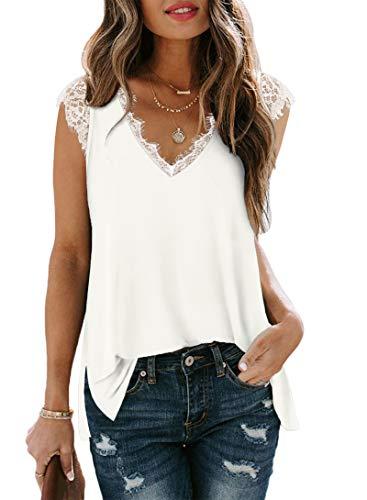 Women's V Neck Lace Tank Top Summer Sleeveless Tunic Shirts Blouses Tops White M